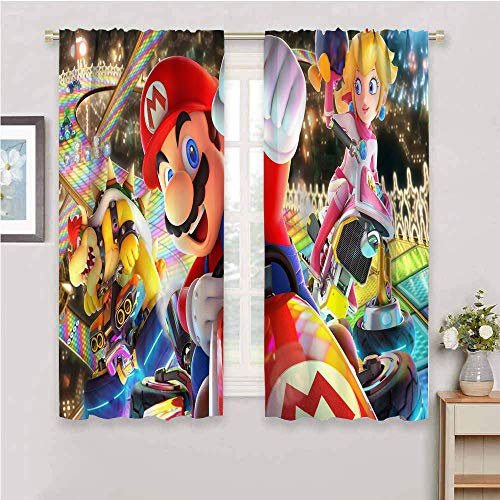 QIAOQIAOLO Super Mario All Season Isolationsvorhang, 213,4 cm Länge, Heimmode, maschinenwaschbar (Mario, Princess Peach Kart 7) B 183,4 x L 213,4 cm