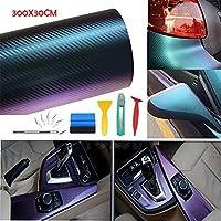 Lypumso カーフィルム カーボンシート 300×30CM 貼付 お得サイズ 艶の光沢と立体感 カーボンシール (ツール付, 青紫グラデーション)