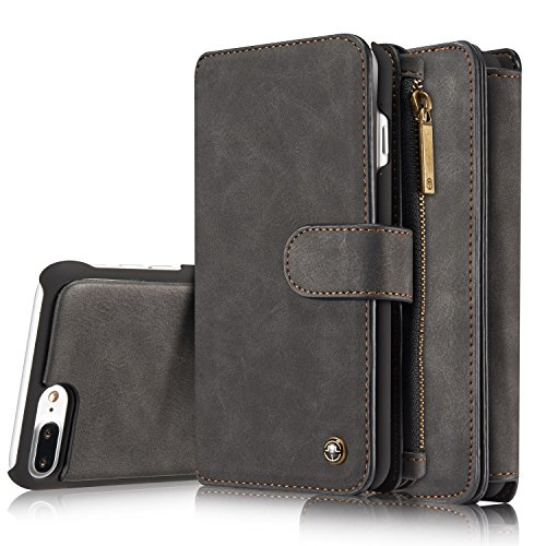 iPhone 8 Plus Case/iPhone 7 Plus Case XRPow Detachable Magnetic Leather Wallet Folio Flip Card Stand Case with Removable Slim Hard PC TPU Back Cover Black