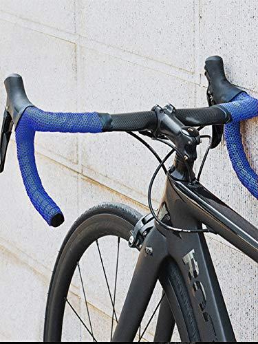 TOPCABIN® Fahrrad Lenkerbänder,2 Rollen Bequem Eva Lenkerband für Citybike Road Bike Lenker Band Leder Fahrrad Lenkerband mit Bar Plugs (Gitter Blau) - 6