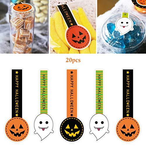 Kylewo Halloween Lange Seal Sticker, Leuke Halloween Patroon Geschenkzakje Behandelt Bag Baking Sticker voor Candy Cookie Biscuit Chocolade Tassen Kaart