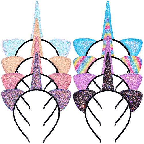 Beinou Einhorn Stirnband 8 Stück Glitzer Horn Haarreif Sparkle Haarband Katzenohren Haar Hoops Bling Haarschmuck für Mädchen Geburtstag Party Geschenk