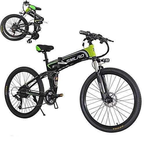 SXZZ Bicicleta Eléctrica De Montaña, E- Bike Plegable De 26 Pulgadas, Batería De Litio De Carga Extraíble De 350 W / 48 V, Suspensión Completa Avanzada Y Engranaje De 21 Velocidades Shimano,Verde