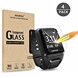 [4 Pack] Compatible with for TomTom Spark Tempered Glass Screen Protector, AKWOX [0.3mm 2.5D High...