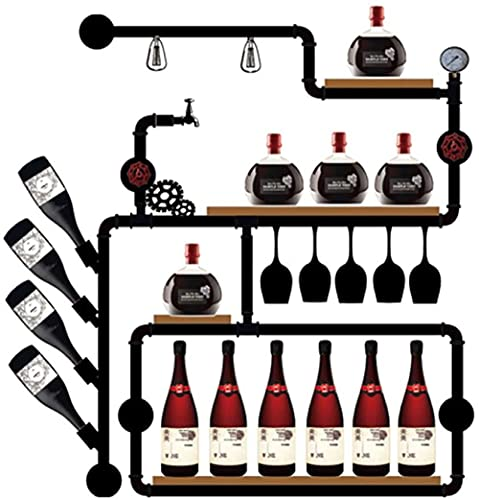 Estante vino de montaje en pared Estante de almacenamiento industrial de hierro puede colocar para colgar para colgar 5 14 botellas Decoración de vino Medidor de presión de agua 90x20x130 cm 4 capa