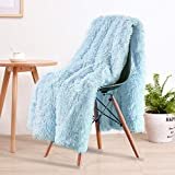 LOCHAS Super Soft Shaggy Faux Fur Blanket, Plush Fuzzy Bed Throw Decorative Washable Cozy Sherpa Fluffy Blankets for Couch Chair Sofa (Ice Blue 50' x 60')