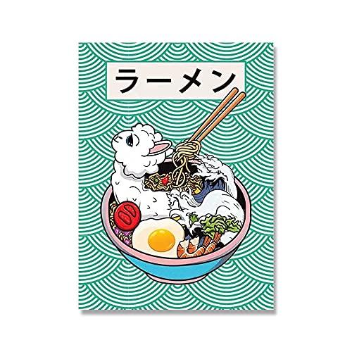 DFRES Pinturas EstéTicas De La Cultura Japonesa ImpresióN En Lienzo Ramen Sushi Animales Comida Posters Anime Arte De La Pared para La Salon De Estar Decoracion del Hogar 60x80cm Sin Marco