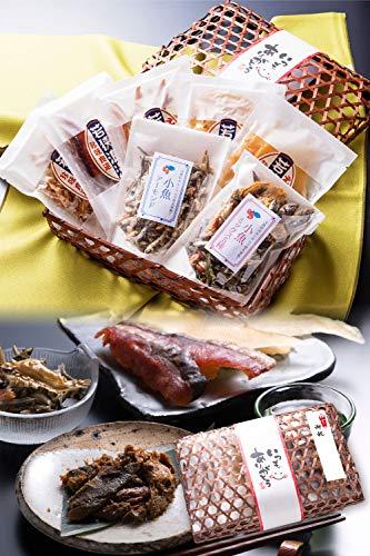 お祝 おつまみ 7種 竹かご のどぐろ 珍味 おつまみセット 小袋 人気 詰め合わせ 【通常便】 えいひれ スルメ 海鮮 手土産 プレゼント ギフト 越前宝や