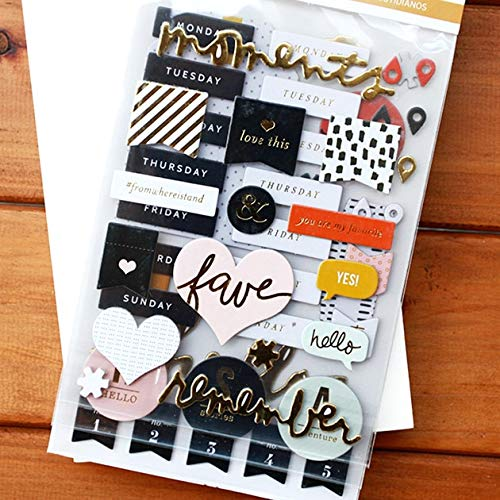 TTBH Foil Gold Moments 3D Die Cut Self-Adhesive Stickers For Scrapbooking/Card Making/Journaling Project Diy