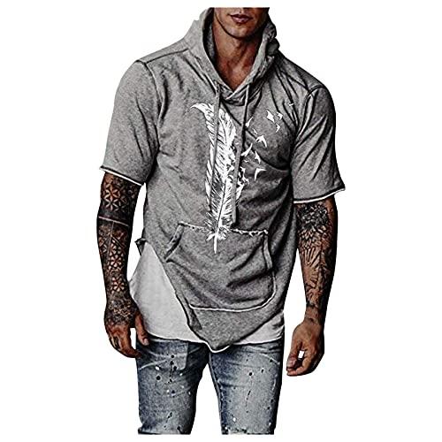 Sudadera con capucha para hombre, para gimnasio, fitness, informal, manga corta, con estampado estampado, para verano, ajustada B gris L
