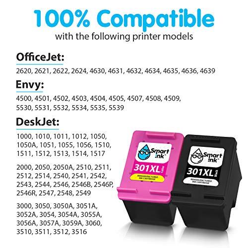 Smart Ink Reemplazo Compatible del Cartucho de Tinta 301XL 301 XL Alto Rendimiento 2 Pack (Negro & Color) Cartuchos para Deskjet 1000 1010 1050 1510 2050 2510 2540 3000 3050 3050A 3510 Envy 4500 5530
