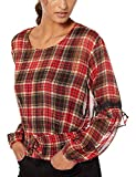 GUESS Women's Long Sleeve Madrid Lace Up Waist Top Shirt, Madison Plaid Sultry red/Multi, M