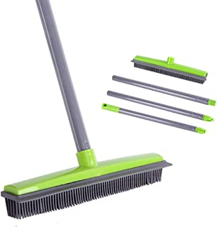 Soft Push Broom Bristle 59'' Rubber Broom Carpet Sweeper with Squeegee Adjustable Long Handle, Removal Pet Human Hair