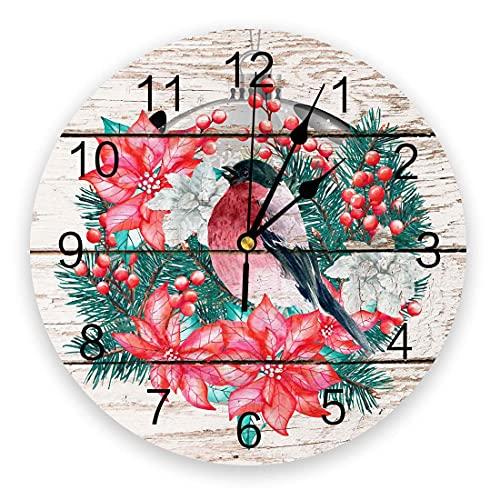 Reloj de Pared de PVC Redondo silencioso Que no Hace tictac, Navidad Robin Bird Flor Guirnalda Linterna Cuarzo de Grano de Madera Relojes de Pared con Pilas para Cocina Sala de Estar,