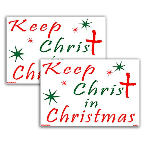 VIBE INK Keep Christ in Christmas Holiday Yard Sign, 24x18, Double-Sided, Large, Corrugated Plastic, Waterproof, Metal Stand Included - Made in The USA! (2)