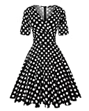 MINTLIMIT Womens Polka Dot Dresses 50s Style Short Sleeves Rockabilly Vintage Dress (Polka dots Black,Size M)