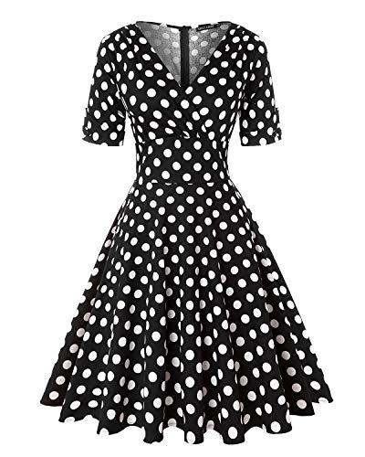 MINTLIMIT Damen Polka Dot Kleider 50s Stil Kurze Ärmels Rockabilly Vintage Kleid (Polka dots Schwarz,Größe M)