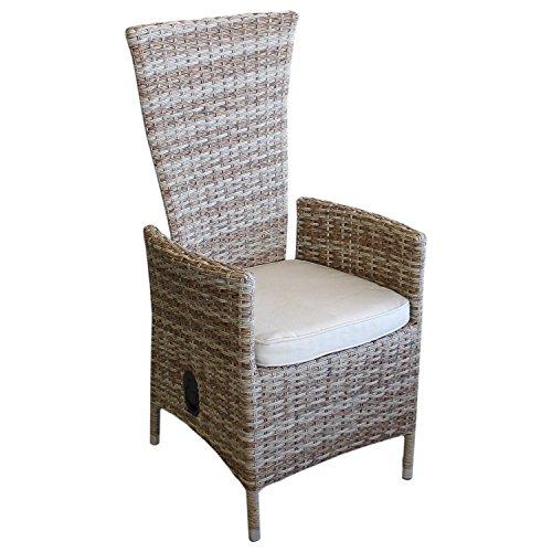 Multistore 2002 Lagerräumung - Polyrattan Sessel Rattansessel Relaxsessel Rückenlehne stufenlos verstellbar Nature + Sitzkissen Beige Gartensessel
