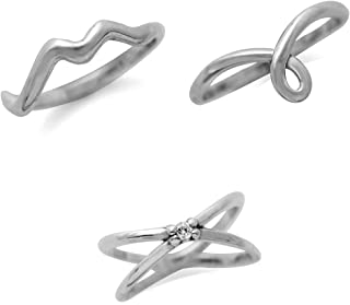 925 Sterling Silver CZ Cross-Band, Knot & Wave 3-Pc Set Knuckle/Midi Ring Size 3