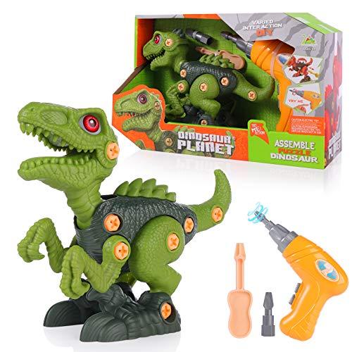 SHANNA Juguete de Dinosaurio Juguete de Montaje con Taladro Eléctrico Dinosaurio Juego Construccion Puzzle Dinosaurios Juguetes Multijugador Regalos para Niños (Estilo B)