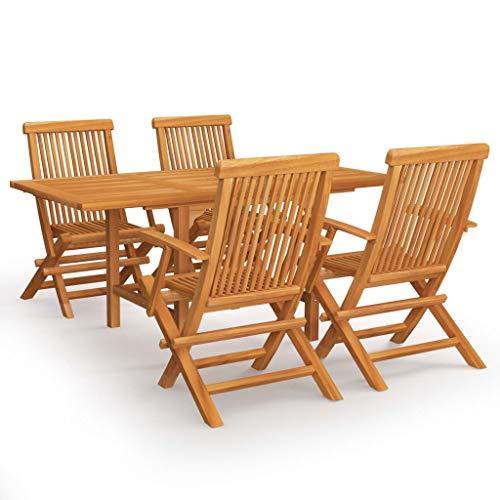 vidaXL Madera Maciza de Teca Conjunto de Comedor de Jardín 5 Piezas Muebles Exterior Terraza Cocina Hogar Silla Mesa Asiento Suave con Respaldo