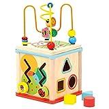 Bino Motorikwürfel mit Uhr, Spielzeug für Kinder ab 1 Jahr (Holzspielzeug mit 5 verschiedenen Spielmöglichkeiten, fördert die motorischen Fähigkeiten, kindgerechtes Design), Mehrfarbig