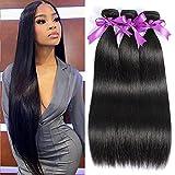 Brazilian Straight Bundles Human Hair 3 Bundles (16 18 20 inch) 10A Straight Weave Hair Bundles 100% Unprocessed Virgin Hair Extensions Natural Black