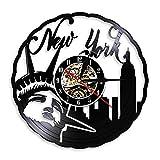 FDGFDG Reloj de Pared de Vinilo de la Ciudad de York EE. UU. Estatua de la Libertad Regalo de Viaje Vintage Colgante de Pared Reloj de decoración con luz de Fondo