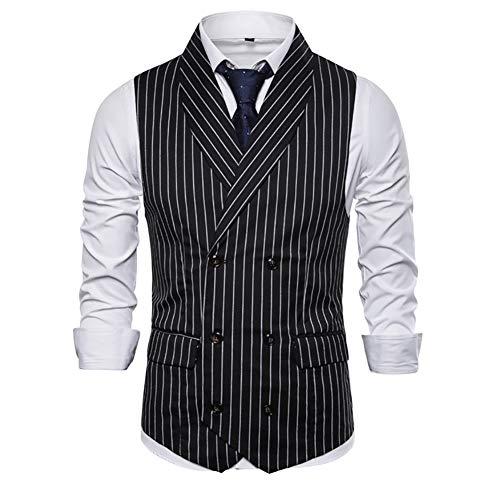 Verhaal van het leven Mens Tweed Waistcoat Stripe Western Vintage Formele Blazer Sjaal Collar Suit Vest Dubbele Borst Slim Fit Gilet voor bruiloft/Business/Party