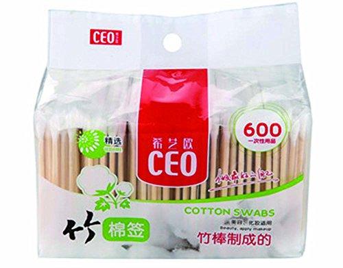 Swabs en bambou écouvillon d'oreille coton coton écouvillon oreille Bud Bud / 600pcs