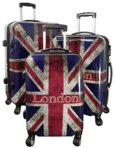 Trendyshop365 Trendyshop365 Hartschale Rollkoffer Koffer-Set 3-teilig London Großbritannien Flagge 4 Räder England