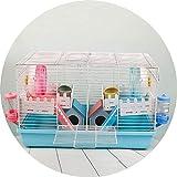 casa criceto gabbia for criceti include bottiglia d'acqua piatto ruota for criceti food and hamster hide-out grande criceto casa (color : blue, size : 47 * 30 * 30cm)