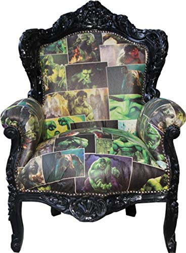 Casa Padrino Baroque Chair King Comic Design/Black Leather Look 85 x 85 x H. 120 cm - Luxury Collection
