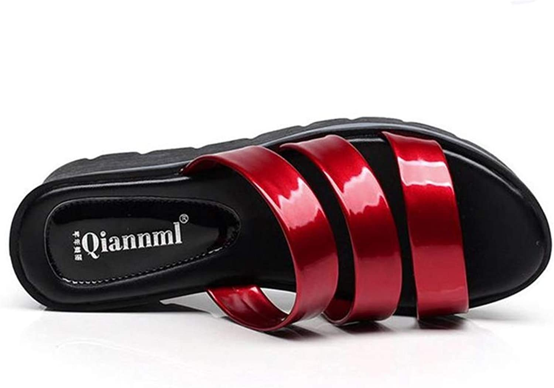 Btrada Female Patent Leather Wedges Slides Sandals Women Summer Elegant Platform Plus Size Slippers