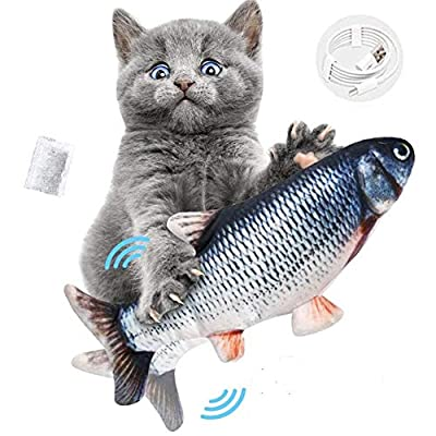 OCHO Dancing Fish Cat Catnip Toy, Realistic Plush Electric Wagging Funny Fish Toys With catnip Indoor Cats Pets Kitten, Perfect for Biting, Chew and Kicking (Grass carp silver)