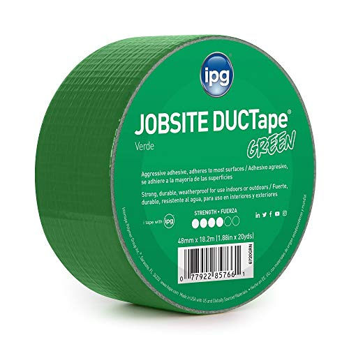 """IPG 6720GRN JobSite DUCTape, Colored Duct Tape, 1.88"""" x 20 yd, Green (Single Roll)"""