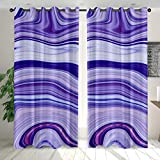Cortinas Opacas Patrón de río Blanco púrpura Azul Cortinas Estampadas Resistente al Calor y La Luz para Salón Dormitorio Cortina Suave para Oficina Moderna Decorativa,100% Poliéster(85x200 cm x2)