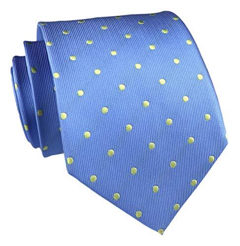Vinesen Herren-Krawatte aus Seide, klassisch, gepunktet, für Business / Hochzeit / Party -  Blau -  Einheitsgröße