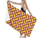 Toallas de baño Tejido de Bandera de España Toalla de Playa Multiusos de Gran tamaño 130 X 80 cm Absorbente de Agua súper Suave