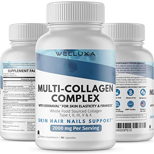 Premium Multi Collagen Pills (2000 mg) Type I,II,III,V,X - Collagen Pills for Hair Skin Nails Bones & Joints - Collagen Peptides - Hydrolyzed Collagen Capsules for Women & Men (90 Count) Unflavored