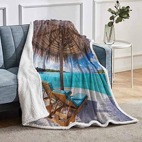 YUAZHOQI Manta de playa de granja, con vista panorámica al mar, tumbonas bajo paraguas, temática romántica luna de miel, mantas para adultos de 51 x 71 pulgadas, color marrón y blanco aguamarina