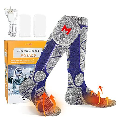 Calcetines Calefactables Recargable, MJIIM 4000mAh Calcetines Calefactables Eléctricos para Hombres Mujeres, Calcetines de Algodón Gruesos Cálidos de Invierno para Esquí, Patinaje, Pesca - Azul