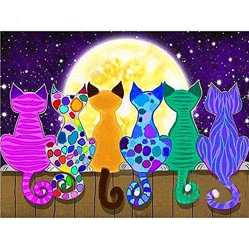5D-Diamant-Malerei-Set für Erwachsene und Kinder, Motiv: Katze, Rückansicht auf der Rückseite, Strassstein-Stickerei, Kreuzstich für Zuhause, Wanddekoration, runde Diamanten, 45 x 60 cm