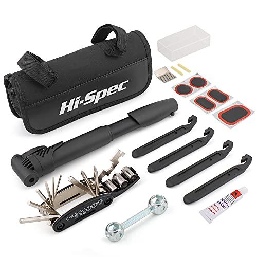 Hi-Spec Juego de Herramientas de Bicicleta 28 Piezas con Mini Bomba Extensible, Herramienta Multifunción 15 en 1 con Llaves Hexagonales, Dados Intercambiables y Destornilladores