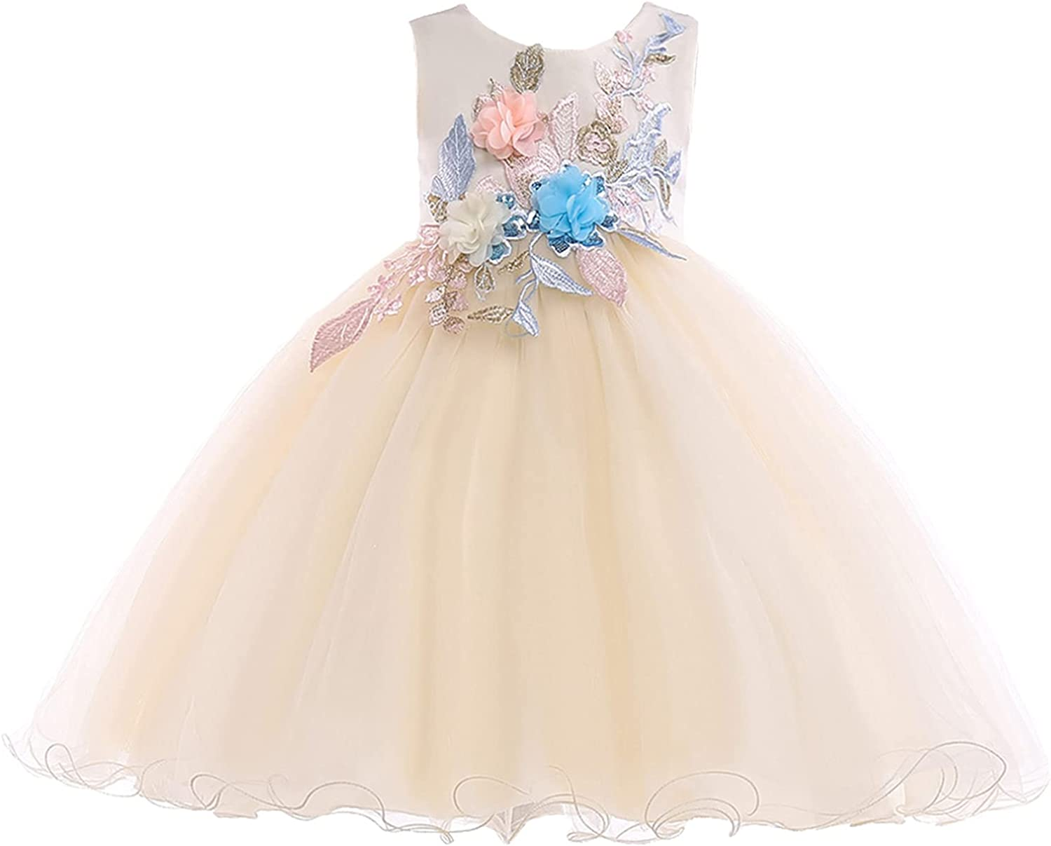 YiZYiF Kids Girls Flower Applique Dress Birthday Wedding Party Princess Prom Dresses for Special Occasion