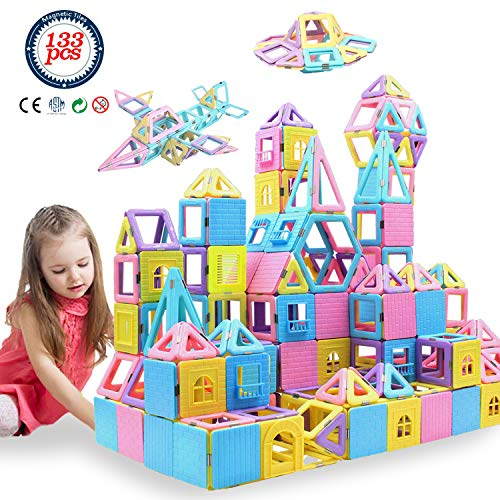 HLAOLA Magnetic Blocks 133PCS Upgrade Magnetic Building Blocks Magnetic Tiles Educational Toys Tiles