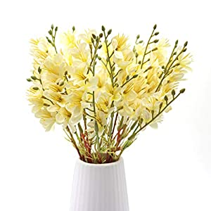 LSME 2 Bouquet Artificial Winter Jasmine Fake Forsythia Flower with Stems Arrangements for Kitchen Table Centerpiece Vase Wedding Party Home Decor