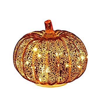 Romingo Mercury Glass Pumpkin Light with Timer for Halloween Pumpkin Decorations Fall and Thanksgiving Decor,Gold 5.5 inches