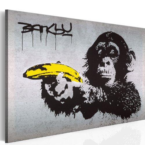 murando - Bilder Banksy Monkey with Banana Gun 120x80 cm Vlies Leinwandbild 1 TLG Kunstdruck modern Wandbilder XXL Wanddekoration Design Wand Bild - AFFE Pistole Graffiti Urban Street Art 030115-40