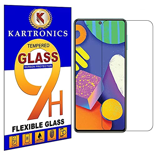 Kartronics Compatible with Samsung Galaxy M51 / M62 / F62 /A71 / A72 / A91 Transparent Tempered Glass Screen Protector with Full Screen Coverage [Except Edges] and Easy Installation Kit